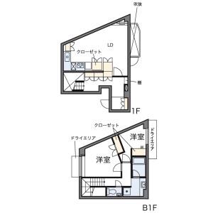 目黒區中町-2LDK公寓 房間格局