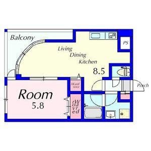 1LDK Mansion in Shimogojocho - Kyoto-shi Shimogyo-ku Floorplan