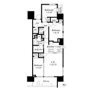 3LDK Apartment in Minamioi - Shinagawa-ku Floorplan