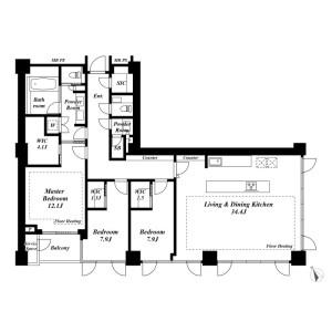 3LDK Apartment in Roppongi - Minato-ku Floorplan