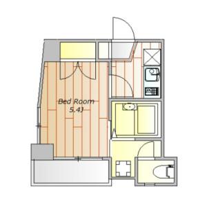 目黒区下目黒-1K公寓大厦 楼层布局