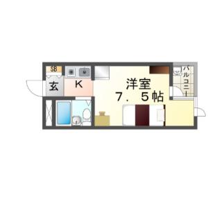 1R Mansion in Higashisonodacho - Amagasaki-shi Floorplan