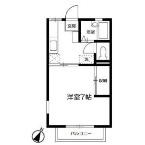 横浜市旭区 鶴ケ峰 1K アパート 間取り