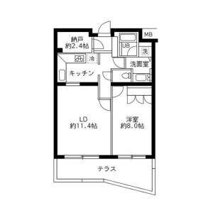 1LDK Apartment in Yoyogi - Shibuya-ku Floorplan