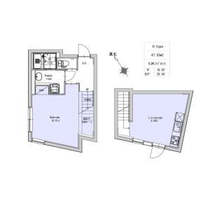 1LDK Apartment in Okusawa - Setagaya-ku Floorplan