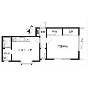 世田谷区代田-1DK公寓大厦 楼层布局