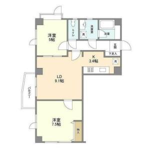 2LDK Mansion in Nozawa - Setagaya-ku Floorplan