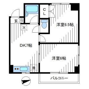 2DK Mansion in Egota - Nakano-ku Floorplan
