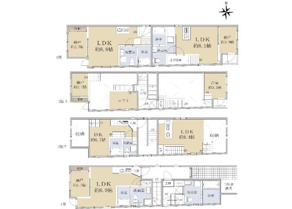 在名古屋市中村区购买整栋 公寓的 楼层布局