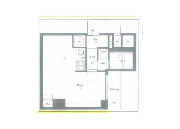 在中央区购买1R 公寓大厦的 楼层布局
