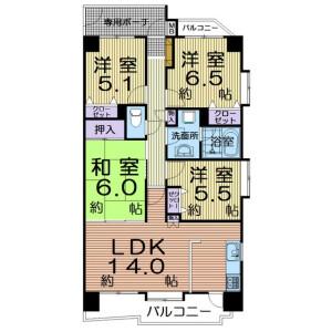 4LDK Apartment in Fukudamachi - Sendai-shi Miyagino-ku Floorplan