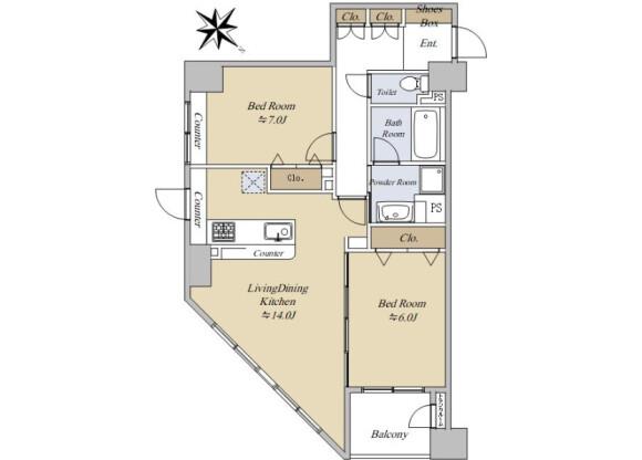 2LDK Apartment to Buy in Yokohama-shi Naka-ku Floorplan