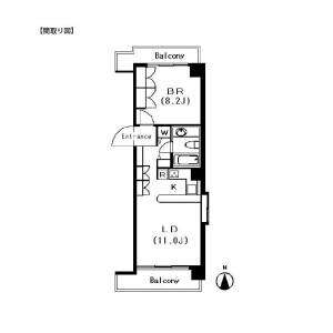 涩谷区広尾-1LDK公寓大厦 楼层布局
