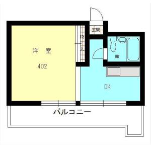 目黒区下目黒-1DK公寓 楼层布局