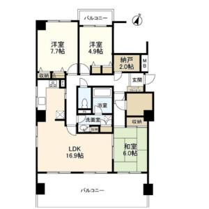 3SLDK Mansion in Daikanyamacho - Shibuya-ku Floorplan