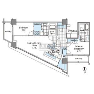 新宿區新宿-2LDK公寓 房間格局