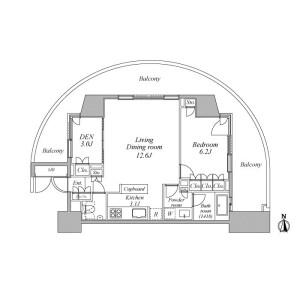 1SLK Mansion in Kaigan(3-chome) - Minato-ku Floorplan