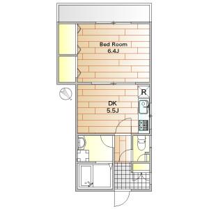 1DK Apartment in Gohongi - Meguro-ku Floorplan