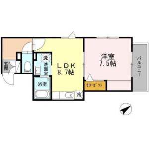 1LDK Mansion in Hiratsuka - Shinagawa-ku Floorplan