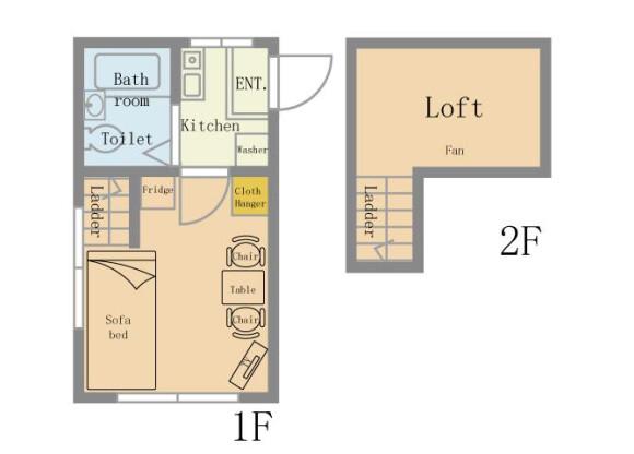 1K Serviced Apartment to Rent in Funabashi-shi Floorplan