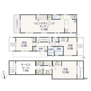 3LDK {building type} in Fukasawa - Setagaya-ku Floorplan