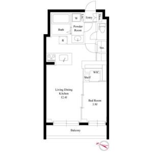 1LDK Mansion in Nishiazabu - Minato-ku Floorplan