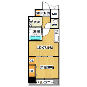 1DK Mansion in Minamisemba - Osaka-shi Chuo-ku Floorplan