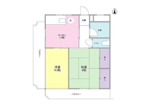 在东村山市内租赁2K 公寓大厦 的 楼层布局