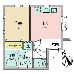 1DK Apartment in Tsunashimahigashi - Yokohama-shi Kohoku-ku Floorplan