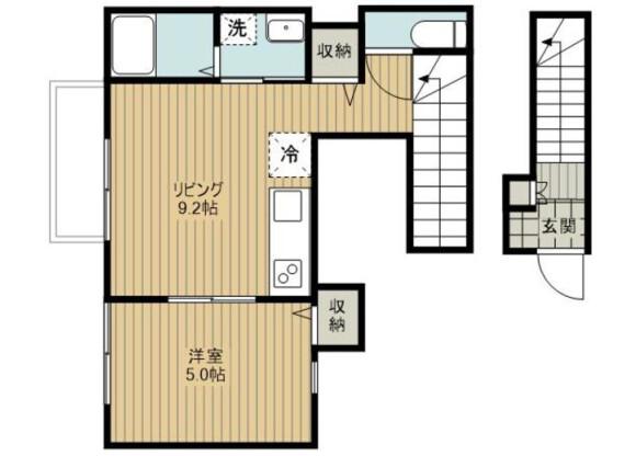 1LDK Apartment to Rent in Saitama-shi Omiya-ku Floorplan