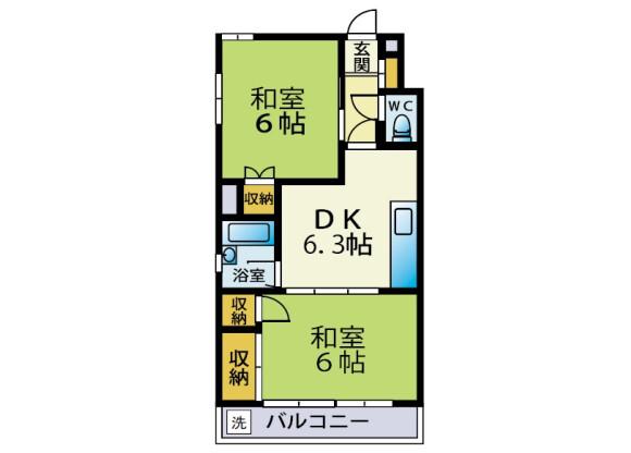 2DK Apartment to Rent in Chiba-shi Chuo-ku Floorplan