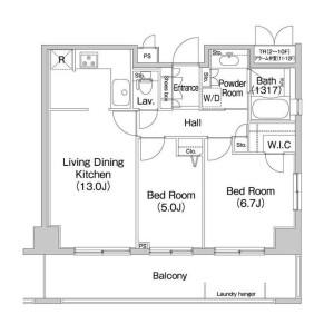 2LDK Apartment in Shibaura(2-4-chome) - Minato-ku Floorplan