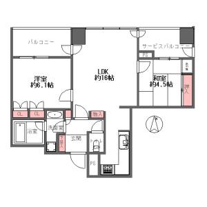 2LDK {building type} in Tsurunocho - Osaka-shi Kita-ku Floorplan