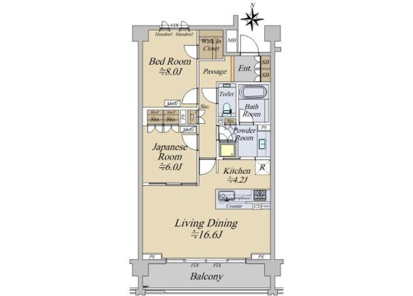 2LDK Apartment to Buy in Kyoto-shi Kamigyo-ku Floorplan