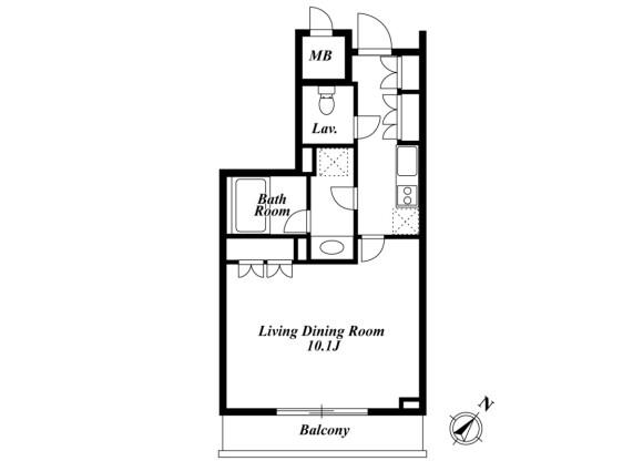 1K Apartment to Rent in Meguro-ku Floorplan