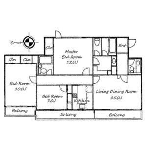 世田谷区等々力-3LDK公寓 楼层布局