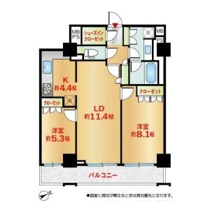 2LDK {building type} in Yamashitacho - Yokohama-shi Naka-ku Floorplan