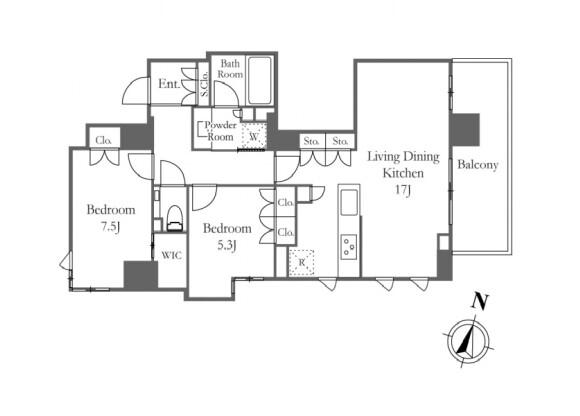 在港區內租賃2LDK 公寓 的房產 房間格局