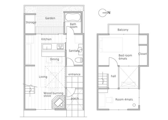 2LDK House to Rent in Kyoto-shi Kita-ku Floorplan