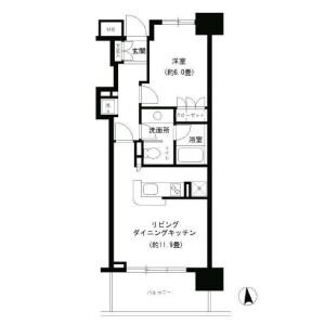 1LDK 맨션 in Shiba(1-3-chome) - Minato-ku Floorplan