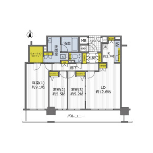 3LDK {building type} in Shimmachi - Osaka-shi Nishi-ku Floorplan