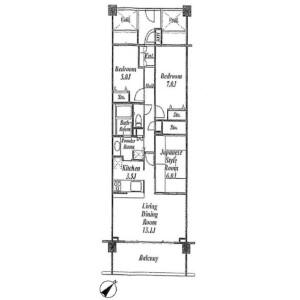3LDK {building type} in Negishi asahidai - Yokohama-shi Naka-ku Floorplan