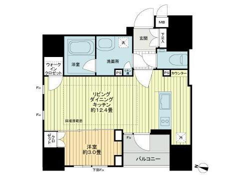 在澀谷區內租賃1LDK 公寓 的房產 房間格局