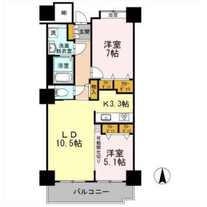 2LDK Mansion in Higashishinagawa - Shinagawa-ku Floorplan