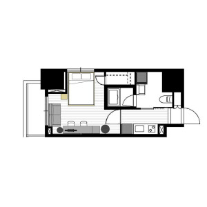 1K Apartment in Roppongi - Minato-ku Floorplan