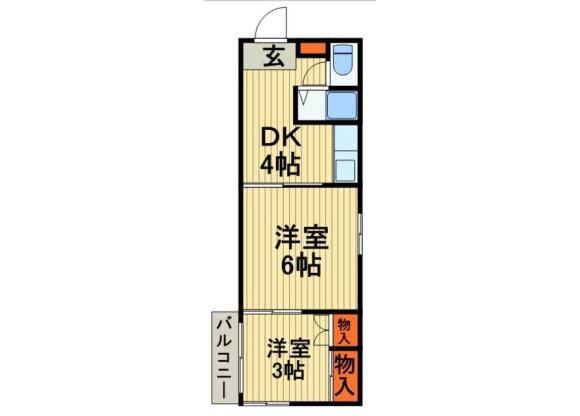 2K Apartment to Rent in Katsushika-ku Floorplan