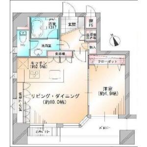 1LDK Apartment in Shinkawa - Chuo-ku Floorplan