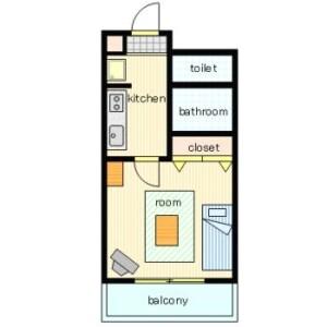 横濱市西區高島-1K公寓大廈 房間格局
