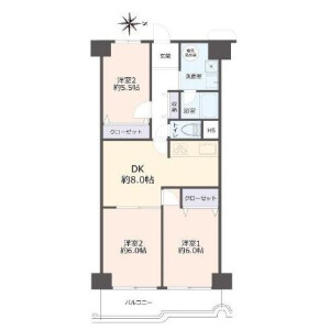 3DK {building type} in Tamadenishi - Osaka-shi Nishinari-ku Floorplan