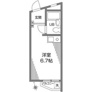 澀谷區恵比寿-1R公寓大廈 房間格局